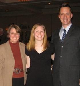 Senator Amy Klobuchar, Mara Brogan, a scholarship winner from Vermillion and Bradley Conley